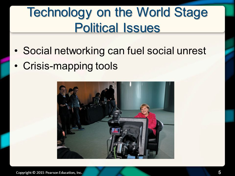 Technology on the World Stage Political Issues Social networking can fuel social unrest Crisis-mapping tools Copyright © 2015 Pearson Education, Inc.