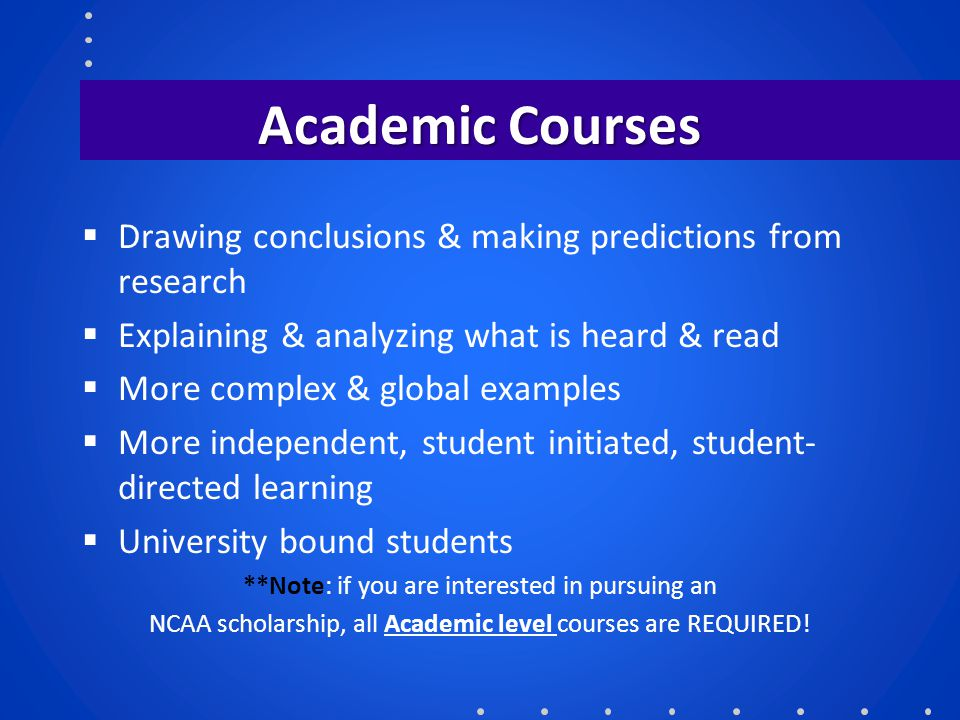 Academic Courses  Drawing conclusions & making predictions from research  Explaining & analyzing what is heard & read  More complex & global exampl
