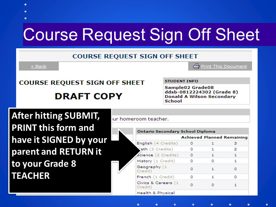 Course Request Sign Off Sheet After hitting SUBMIT, PRINT this form and have it SIGNED by your parent and RETURN it to your Grade 8 TEACHER