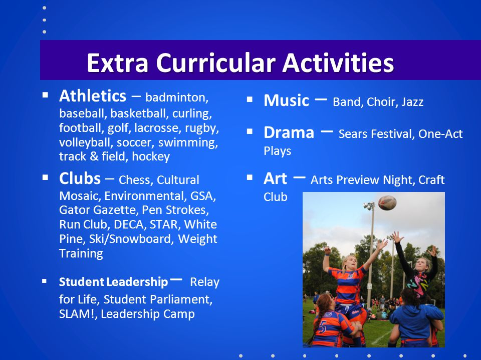 Extra Curricular Activities  Athletics – badminton, baseball, basketball, curling, football, golf, lacrosse, rugby, volleyball, soccer, swimming, tra