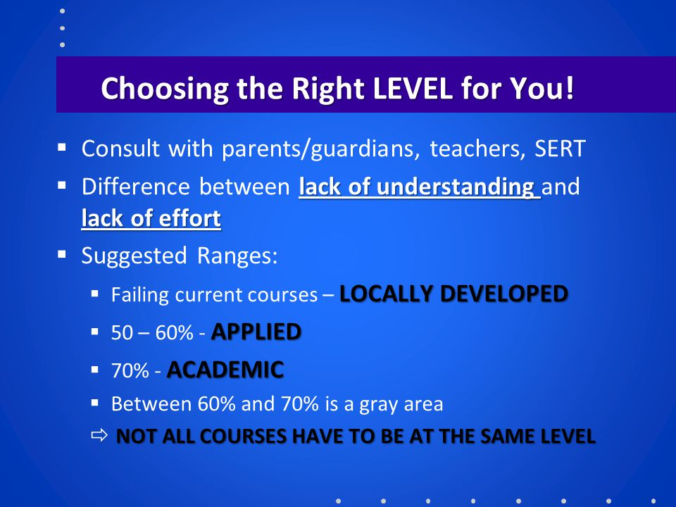 Choosing the Right LEVEL for You!  Consult with parents/guardians, teachers, SERT lack of understanding lack of effort  Difference between lack of u