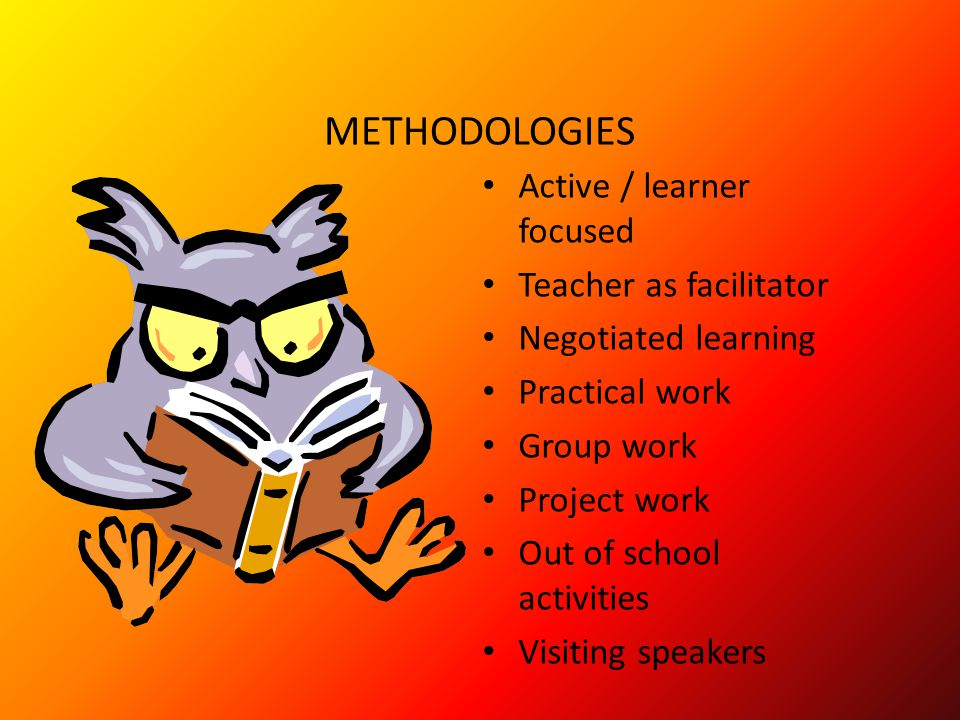 METHODOLOGIES Active / learner focused Teacher as facilitator Negotiated learning Practical work Group work Project work Out of school activities Visiting speakers