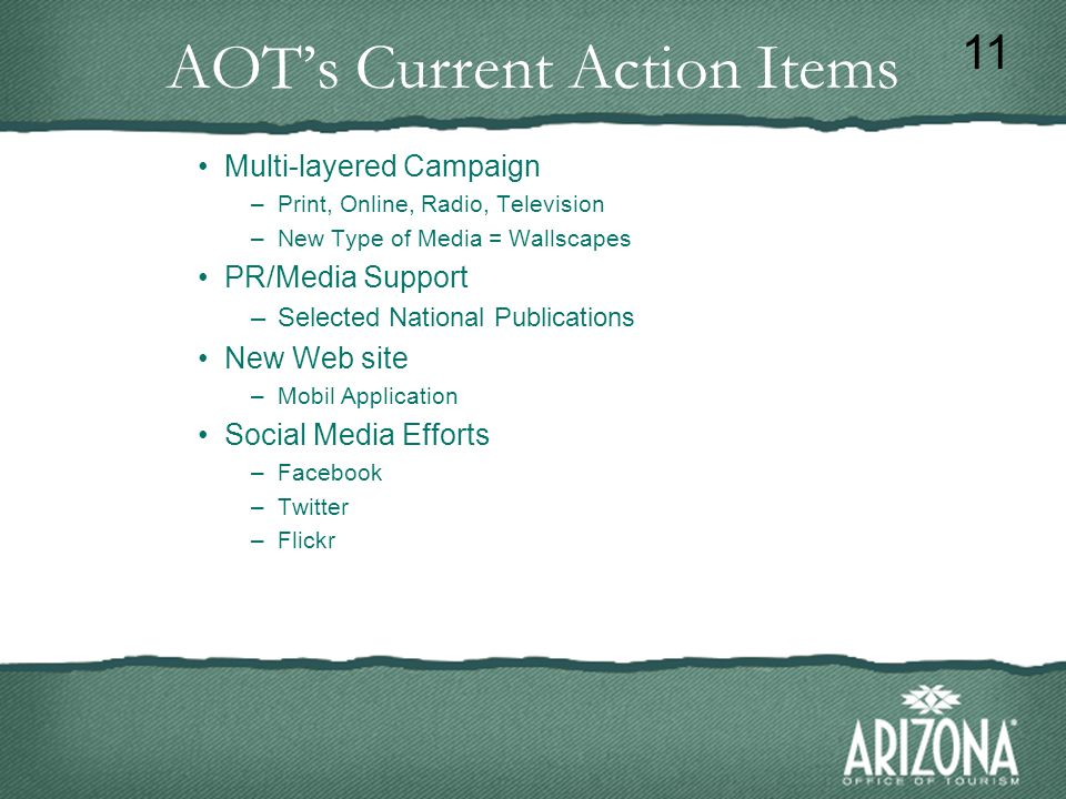 AOT's Current Action Items Multi-layered Campaign –Print, Online, Radio, Television –New Type of Media = Wallscapes PR/Media Support –Selected National Publications New Web site –Mobil Application Social Media Efforts –Facebook –Twitter –Flickr 11