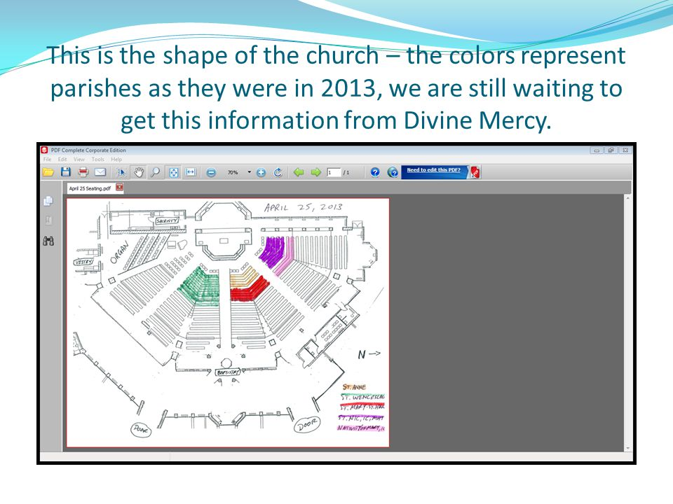 This is the shape of the church – the colors represent parishes as they were in 2013, we are still waiting to get this information from Divine Mercy.