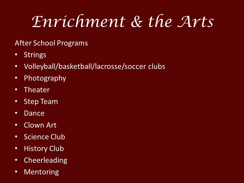 Enrichment & the Arts After School Programs Strings Volleyball/basketball/lacrosse/soccer clubs Photography Theater Step Team Dance Clown Art Science Club History Club Cheerleading Mentoring