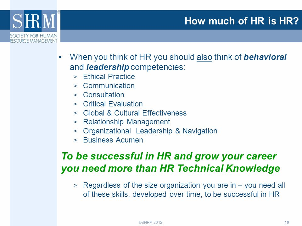 ©SHRM 2012 How much of HR is HR.
