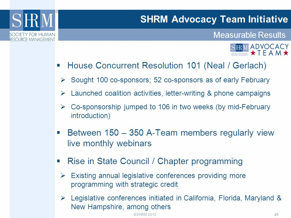 ©SHRM 2012 25 SHRM Advocacy Team Initiative  House Concurrent Resolution 101 (Neal / Gerlach)  Sought 100 co-sponsors; 52 co-sponsors as of early February  Launched coalition activities, letter-writing & phone campaigns  Co-sponsorship jumped to 106 in two weeks (by mid-February introduction)  Between 150 – 350 A-Team members regularly view live monthly webinars  Rise in State Council / Chapter programming  Existing annual legislative conferences providing more programming with strategic credit  Legislative conferences initiated in California, Florida, Maryland & New Hampshire, among others Measurable Results