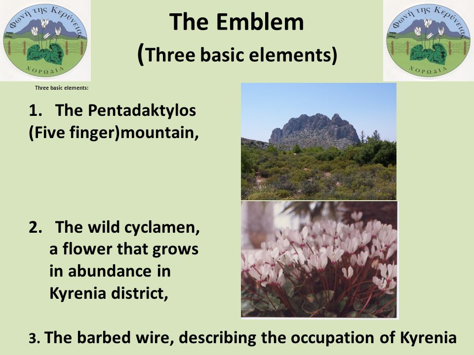 The Emblem ( Three basic elements) Three basic elements: 1.The Pentadaktylos (Five finger)mountain, 2.The wild cyclamen, a flower that grows in abundance in Kyrenia district, 3.