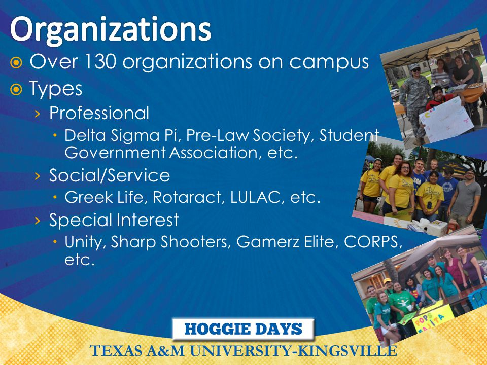  Over 130 organizations on campus  Types › Professional  Delta Sigma Pi, Pre-Law Society, Student Government Association, etc.