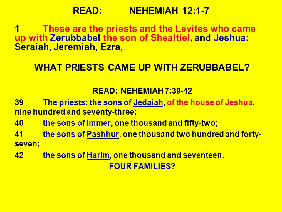 READ:NEHEMIAH 12:1-7 1These are the priests and the Levites who came up with Zerubbabel the son of Shealtiel, and Jeshua: Seraiah, Jeremiah, Ezra, WHA