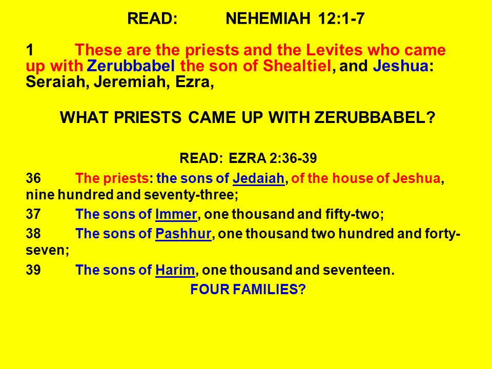 READ:NEHEMIAH 12:1-7 1These are the priests and the Levites who came up with Zerubbabel the son of Shealtiel, and Jeshua: Seraiah, Jeremiah, Ezra, WHAT PRIESTS CAME UP WITH ZERUBBABEL.