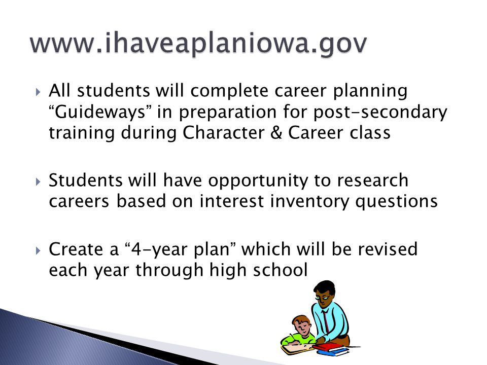  All students will complete career planning Guideways in preparation for post-secondary training during Character & Career class  Students will have opportunity to research careers based on interest inventory questions  Create a 4-year plan which will be revised each year through high school