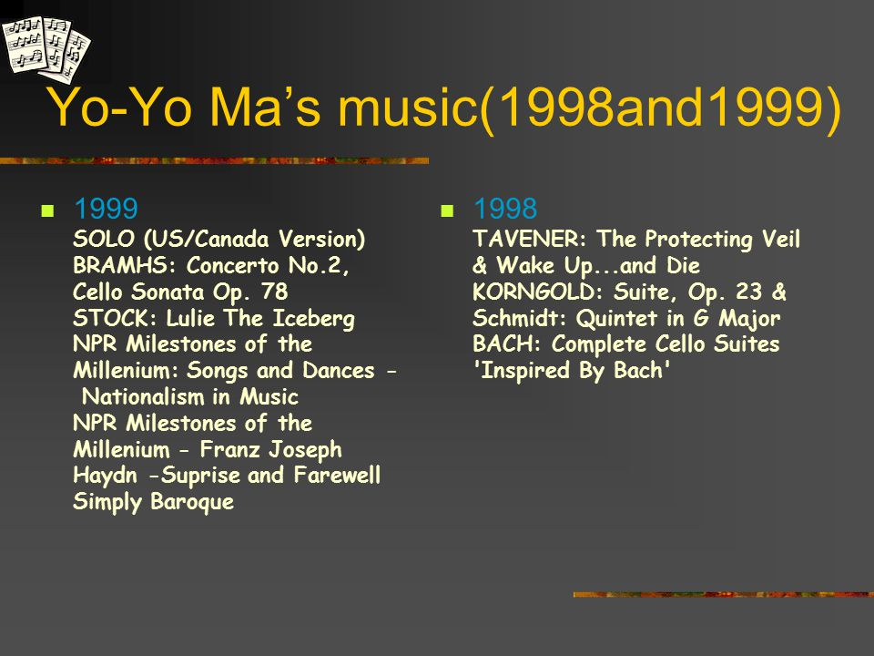 Yo-Yo Ma's music (2000) 2000 Inspired by Bach, Volume 2 (DVD) Inspired by Bach, Volume 3 (DVD) Crouching Tiger, Hidden Dragon Inspired by Bach, Volume