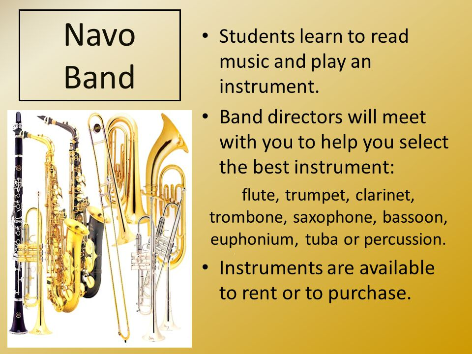 Students learn to read music and play an instrument.