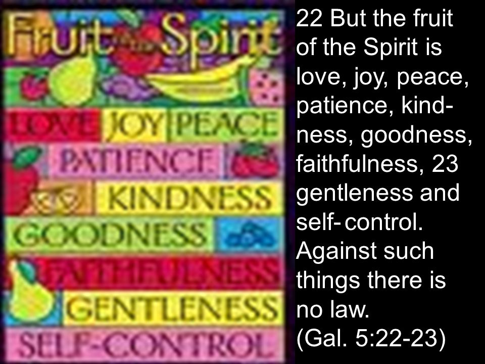 22 But the fruit of the Spirit is love, joy, peace, patience, kind- ness, goodness, faithfulness, 23 gentleness and self-control. Against such things