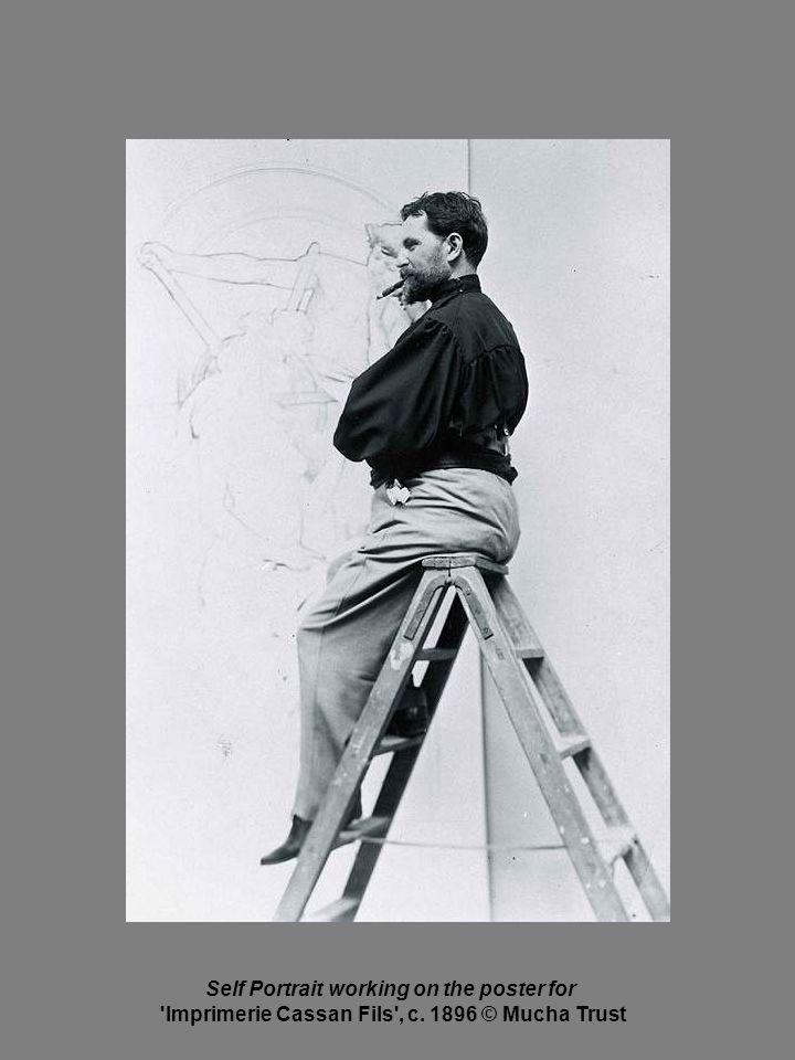 Self Portrait working on the poster for Imprimerie Cassan Fils , c. 1896 © Mucha Trust