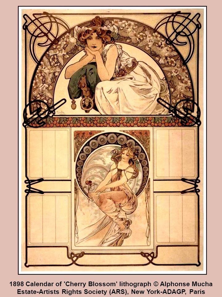 1898 Calendar of Cherry Blossom lithograph © Alphonse Mucha Estate-Artists Rights Society (ARS), New York-ADAGP, Paris