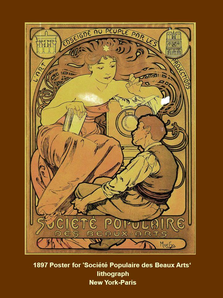 1897 Poster for Société Populaire des Beaux Arts' lithograph New York-Paris