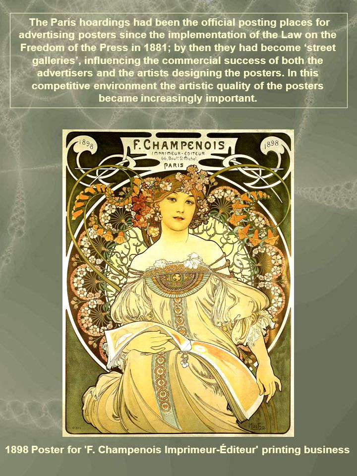 Poster for Imprimerie Cassan Fils (1896) In this poster for the Cassan Fils printing works, Mucha combines the real with the emblematic - the semi-naked model contrasts with the allegorical, faun-like printer who represents the printing industry.