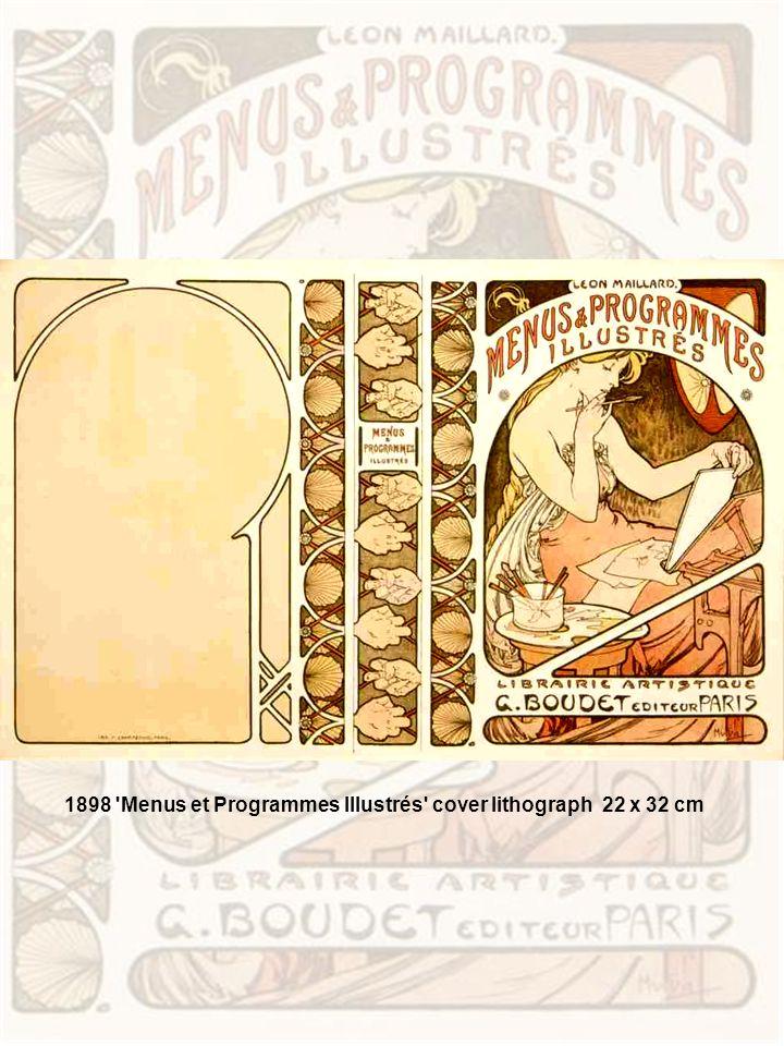1898 Menus et Programmes Illustrés cover lithograph 22 x 32 cm