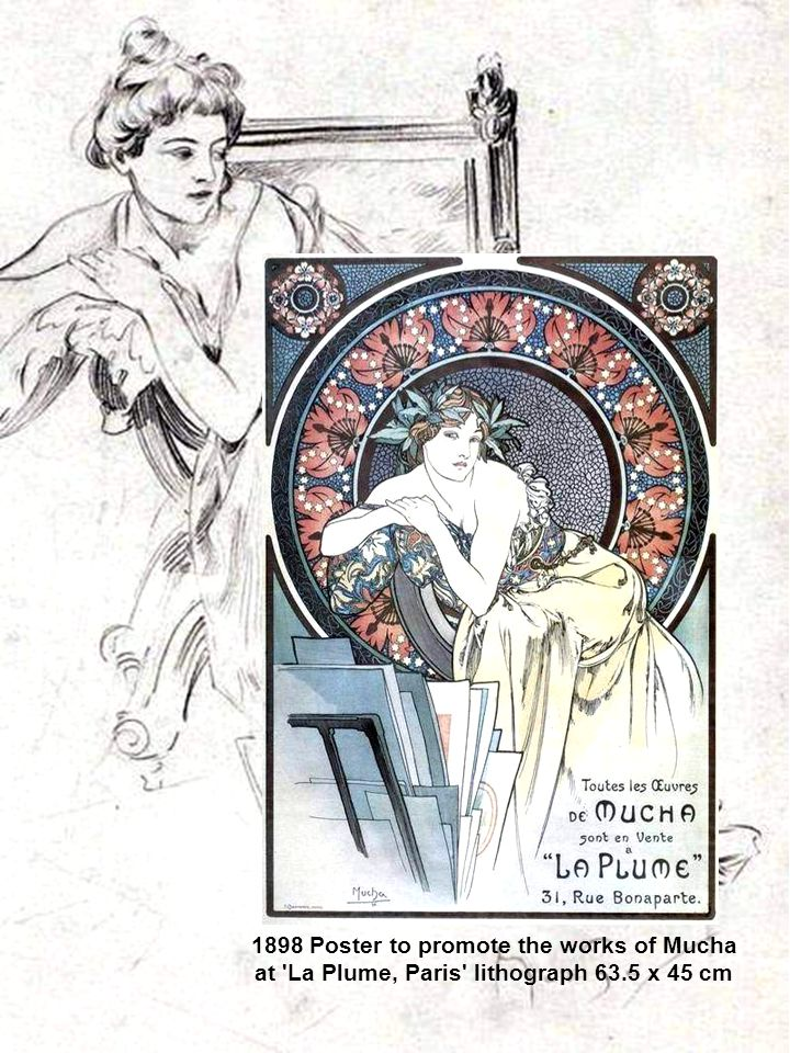 1898 Poster to promote the works of Mucha at La Plume, Paris lithograph 63.5 x 45 cm