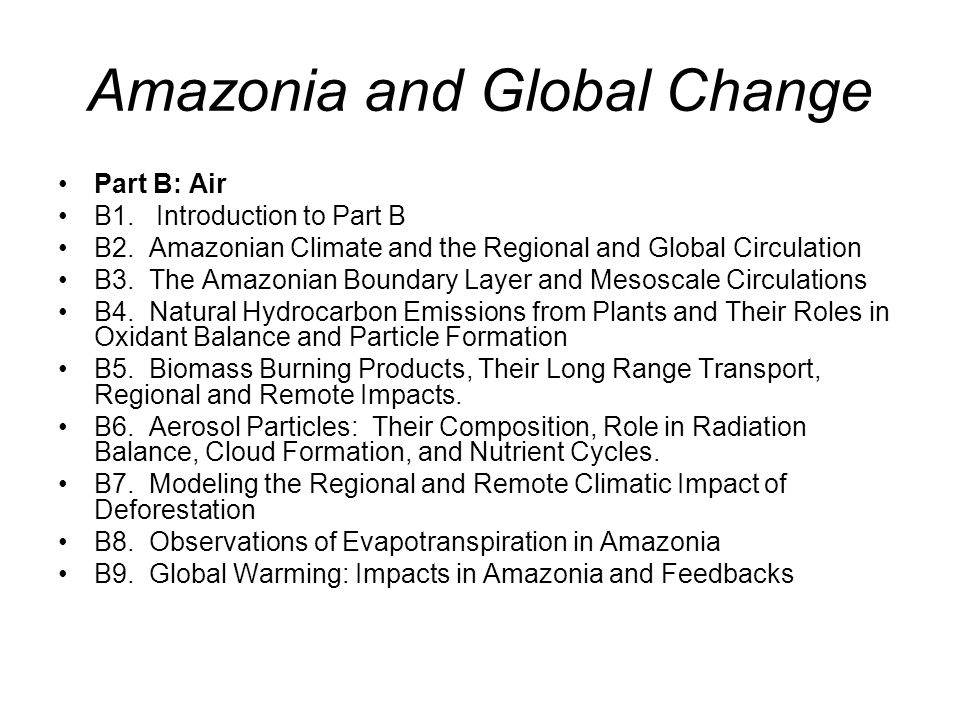 Amazonia and Global Change Part C: Land C1.Introduction to Part C C2.