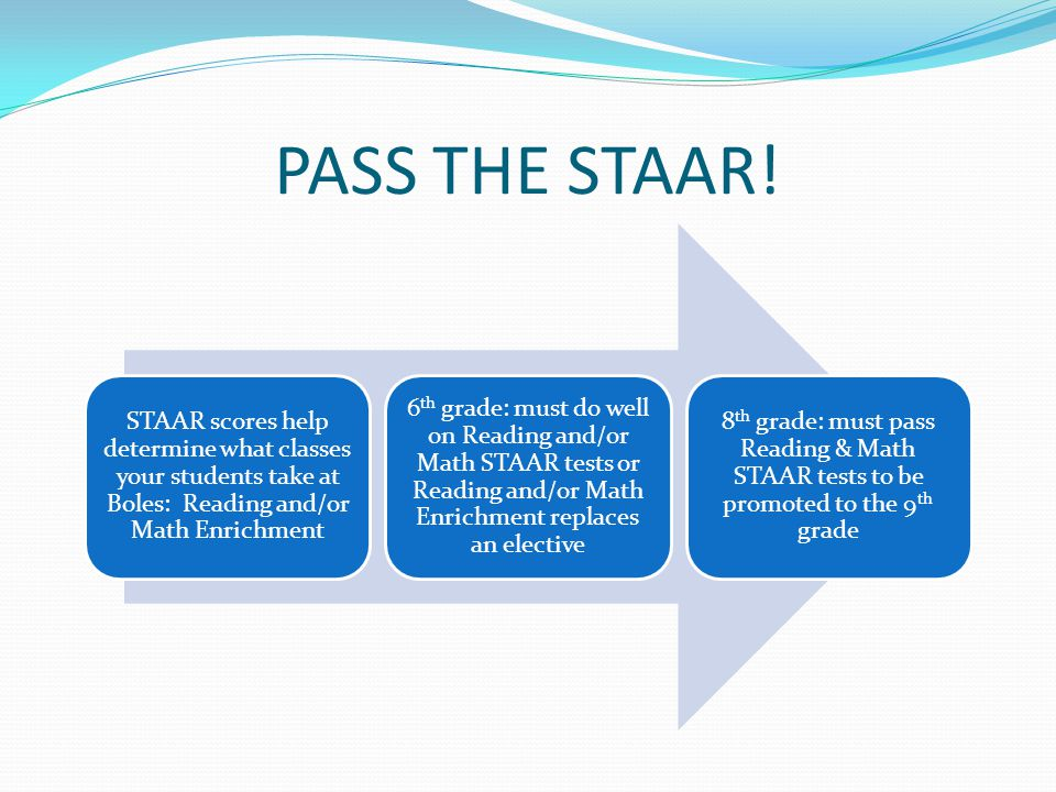 PASS THE STAAR! STAAR scores help determine what classes your students take at Boles: Reading and/or Math Enrichment 6 th grade: must do well on Readi