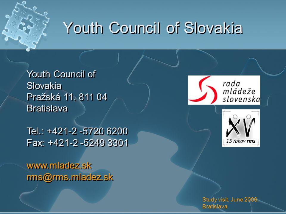Youth Council of Slovakia Pražská 11, 811 04 Bratislava Tel.: +421-2 -5720 6200 Fax: +421-2 -5249 3301 www.mladez.sk rms@rms.mladez.sk Youth Council of Slovakia Pražská 11, 811 04 Bratislava Tel.: +421-2 -5720 6200 Fax: +421-2 -5249 3301 www.mladez.sk rms@rms.mladez.sk Study visit, June 2006, Bratislava Youth Council of Slovakia