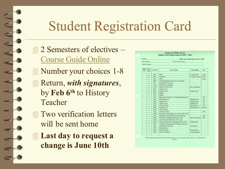Student Registration Card 4 2 Semesters of electives – Course Guide Online Course Guide Online 4 Number your choices 1-8 4 Return, with signatures, by Feb 6 th to History Teacher 4 Two verification letters will be sent home 4 Last day to request a change is June 10th