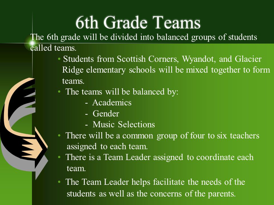 6th Grade Teams The 6th grade will be divided into balanced groups of students called teams. Students from Scottish Corners, Wyandot, and Glacier Ridg