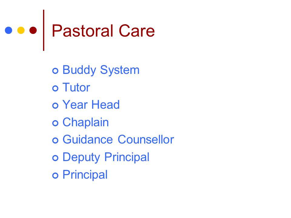 Pastoral Care Buddy System Tutor Year Head Chaplain Guidance Counsellor Deputy Principal Principal