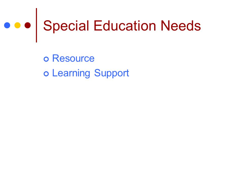 Special Education Needs Resource Learning Support