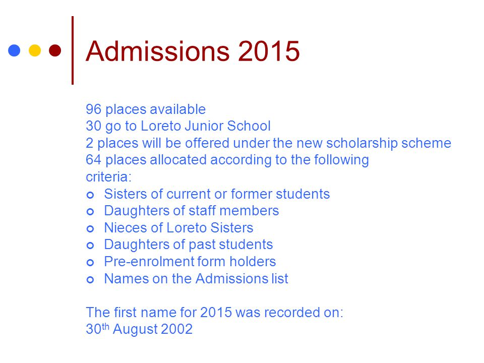 Admissions 2015 96 places available 30 go to Loreto Junior School 2 places will be offered under the new scholarship scheme 64 places allocated according to the following criteria: Sisters of current or former students Daughters of staff members Nieces of Loreto Sisters Daughters of past students Pre-enrolment form holders Names on the Admissions list The first name for 2015 was recorded on: 30 th August 2002