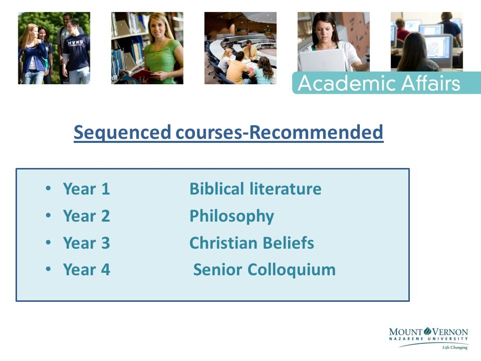Year 1 Biblical literature Year 2 Philosophy Year 3 Christian Beliefs Year 4 Senior Colloquium Sequenced courses-Recommended