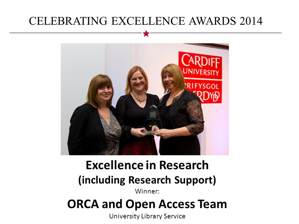 Excellence in Research (including Research Support) Winner: ORCA and Open Access Team University Library Service