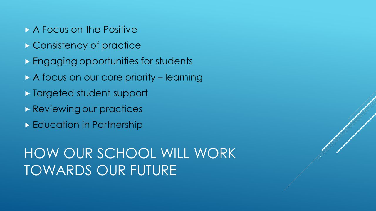 HOW OUR SCHOOL WILL WORK TOWARDS OUR FUTURE  A Focus on the Positive  Consistency of practice  Engaging opportunities for students  A focus on our