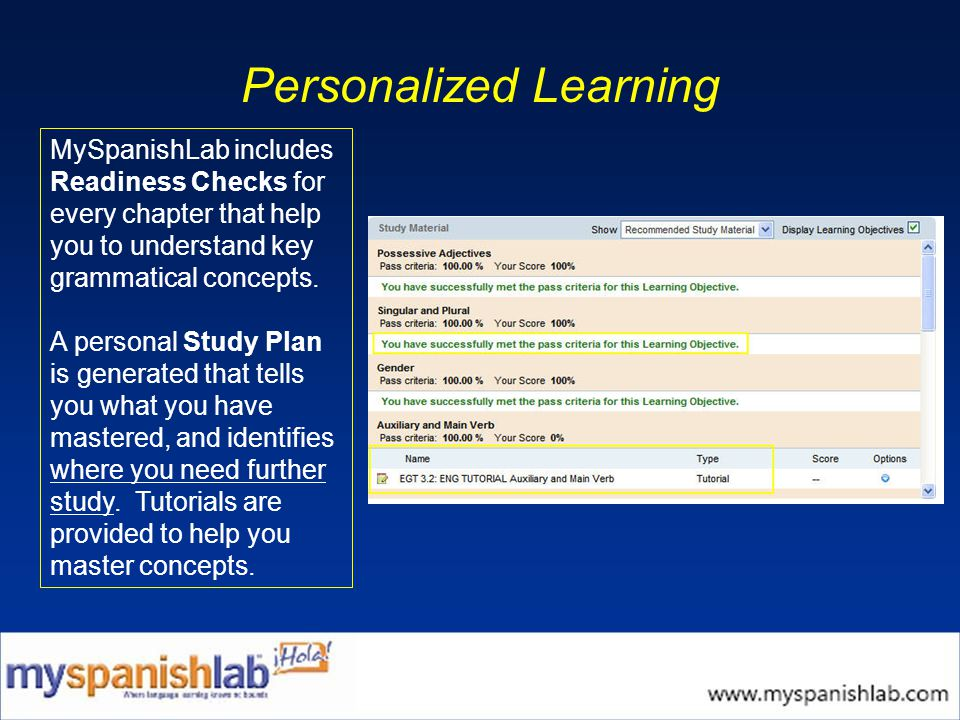 Personalized Learning MySpanishLab includes Readiness Checks for every chapter that help you to understand key grammatical concepts.