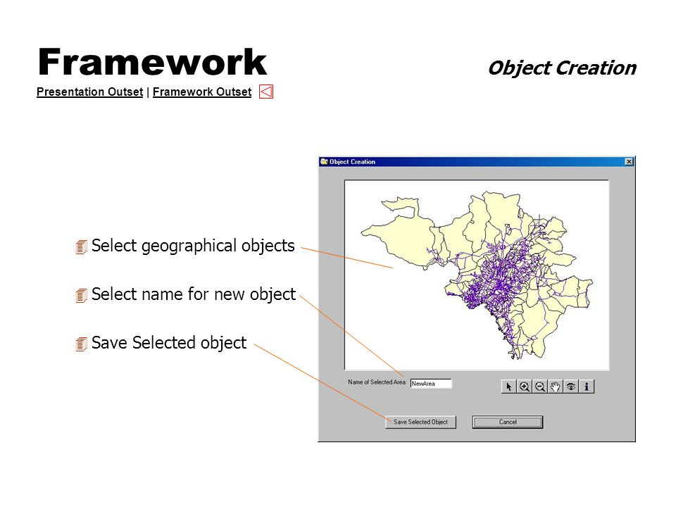 Framework Object Creation Presentation Outset | Framework Outset Presentation OutsetFramework Outset 4 Select geographical objects 4 Select name for new object 4 Save Selected object