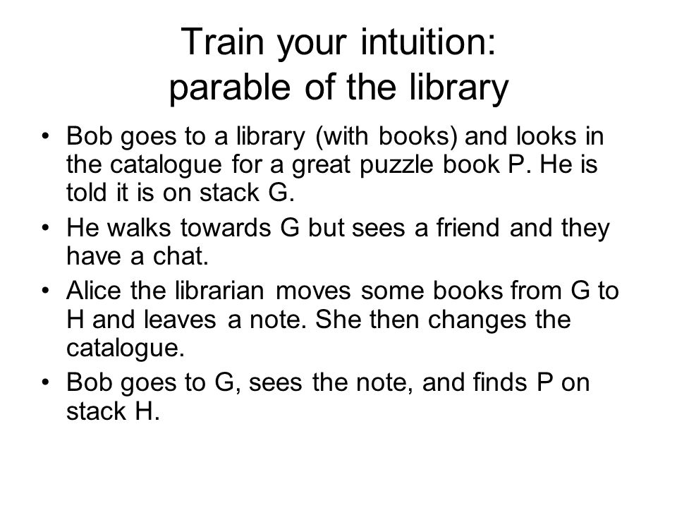 Train your intuition: parable of the library Bob goes to a library (with books) and looks in the catalogue for a great puzzle book P.