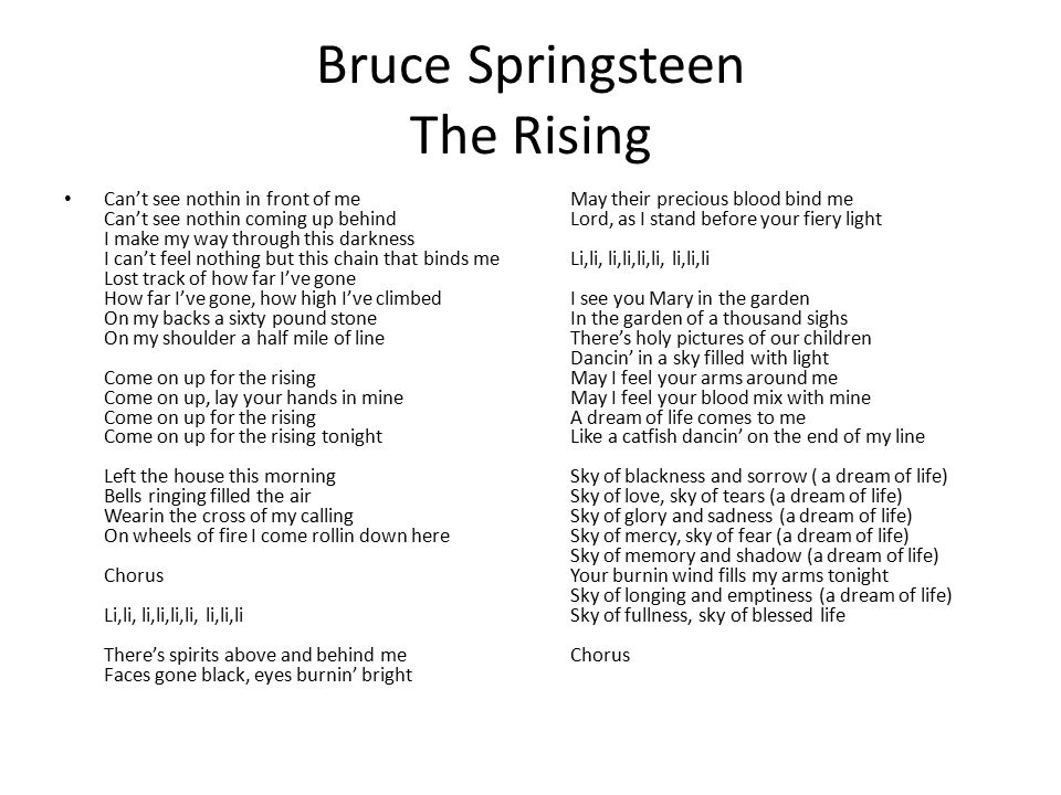 Bruce Springsteen The Rising Can't see nothin in front of me Can't see nothin coming up behind I make my way through this darkness I can't feel nothin