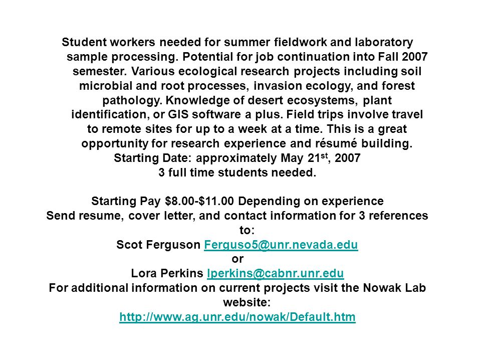 Student workers needed for summer fieldwork and laboratory sample processing.