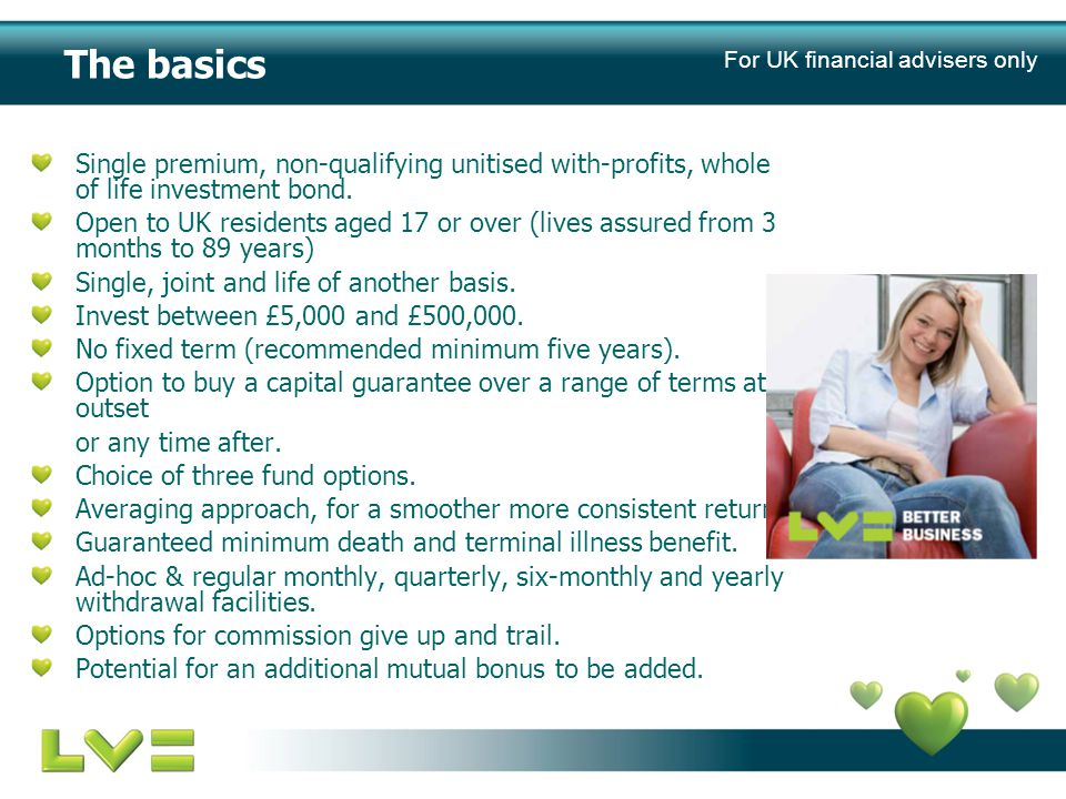 The basics Single premium, non-qualifying unitised with-profits, whole of life investment bond.