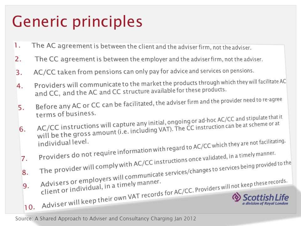 Generic principles Source: A Shared Approach to Adviser and Consultancy Charging Jan 2012