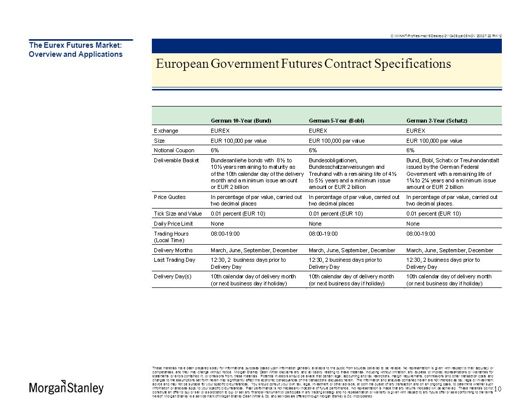 The Eurex Futures Market: Overview and Applications European Government Futures Contract Specifications These materials have been prepared solely for