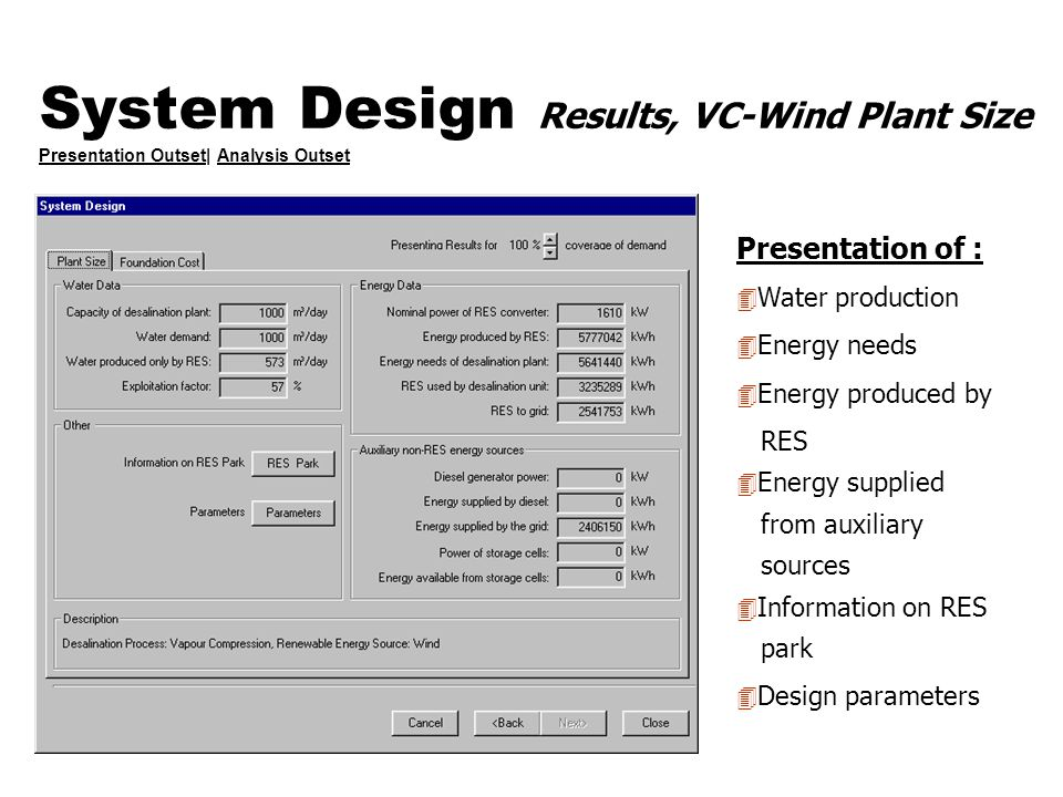 System Design Results, VC-Wind Plant Size Presentation Outset| Analysis Outset Presentation OutsetAnalysis Outset Presentation of : 4 Water production