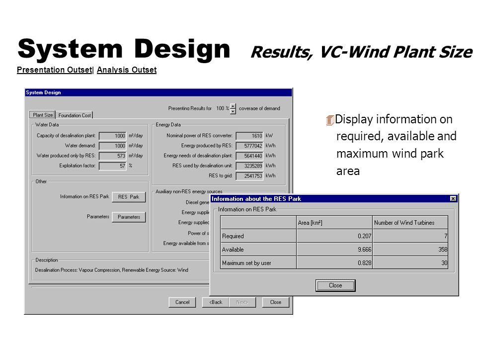 System Design Results, VC-Wind Plant Size Presentation Outset| Analysis Outset Presentation OutsetAnalysis Outset 4 Display information on required, a