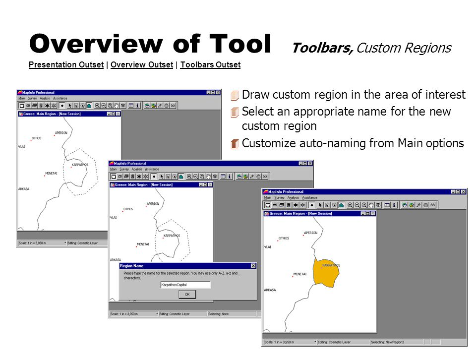 Overview of Tool Toolbars, Custom Regions Presentation Outset | Overview Outset | Toolbars Outset Presentation OutsetOverview OutsetToolbars Outset 4