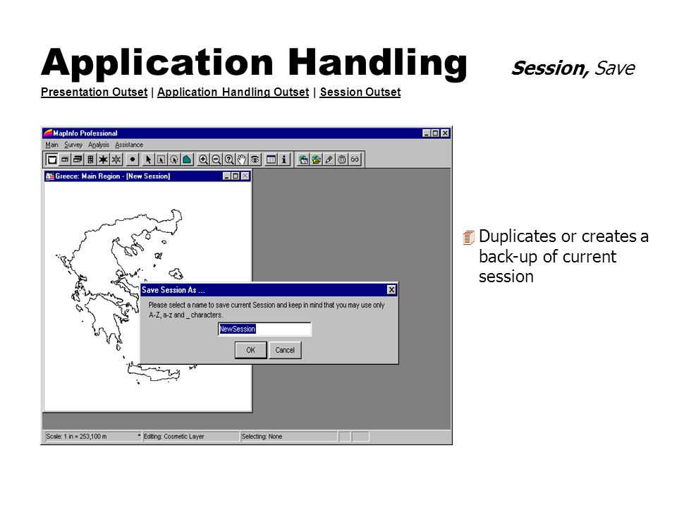 Application Handling Session, Save Presentation Outset | Application Handling Outset | Session Outset Presentation OutsetApplication Handling OutsetSe