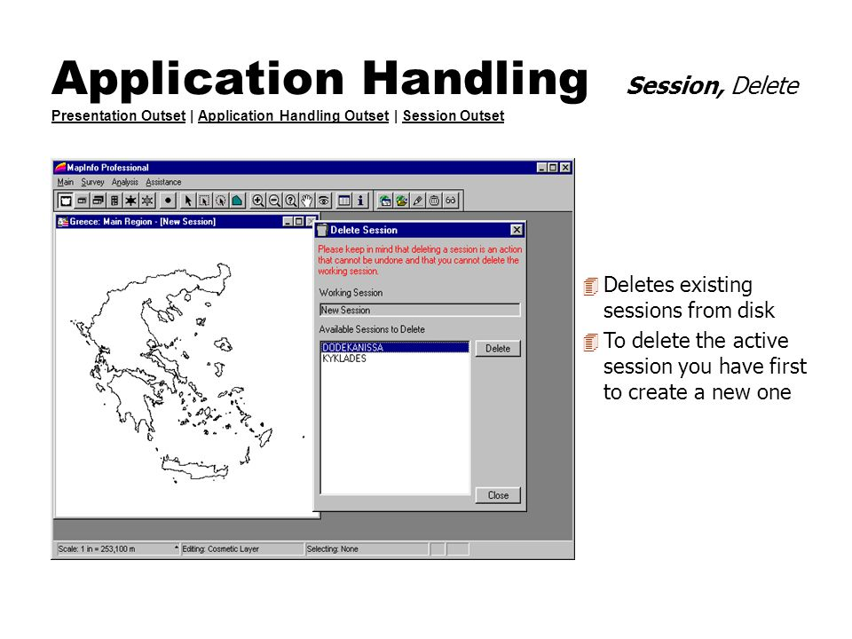 Application Handling Session, Delete Presentation Outset | Application Handling Outset | Session Outset Presentation OutsetApplication Handling Outset