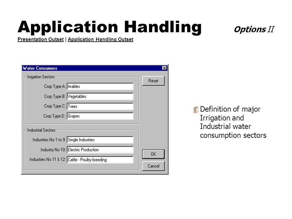 Application Handling Options II Presentation Outset | Application Handling Outset Presentation OutsetApplication Handling Outset 4 Definition of major